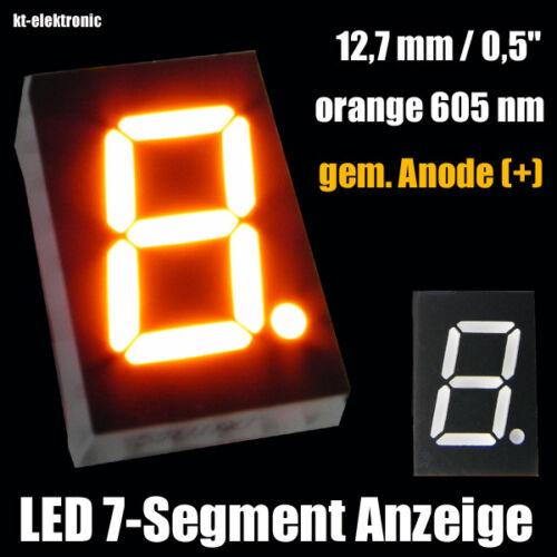"+ 3 pièces LED 7-segment chiffres affichage 12,7mm 0,5/"" Orange 605nm GEM anode"