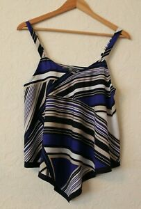 BHS-W-Handkerchief-Asymmetric-Hem-Cami-Vest-Top-Elegant-Blue-Cream-UK-S