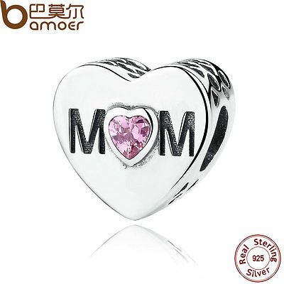 Bamoer S925 Sterling Silver Charms LOVE MoM With Zircon Fitting Bracelet Jewelry