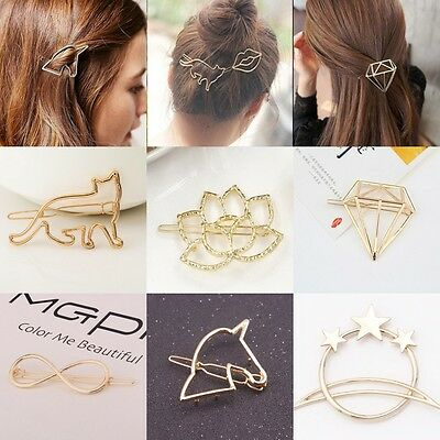 New Women Gold Silver Hollow Out Barrette Hair Clips Clamp Hairpin Hair Access
