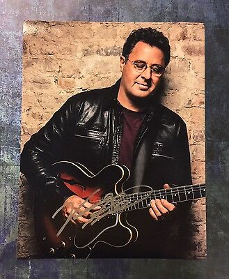 Signed 11x14 Photo Proof Ad1 Coa Be Novel In Design Vince Gill Hospitable Gfa Country Blues Legend