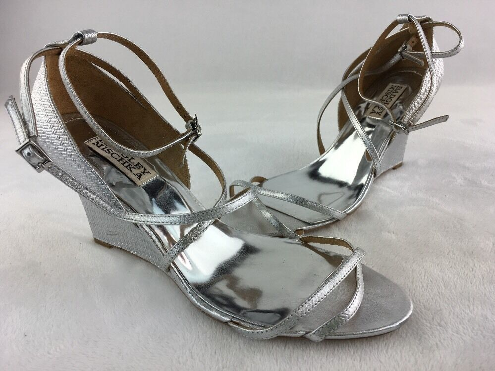 Badgley Mischka Melaney II argent Metallic LTHR Wedge Sandal Taille 7.5M  RH13517