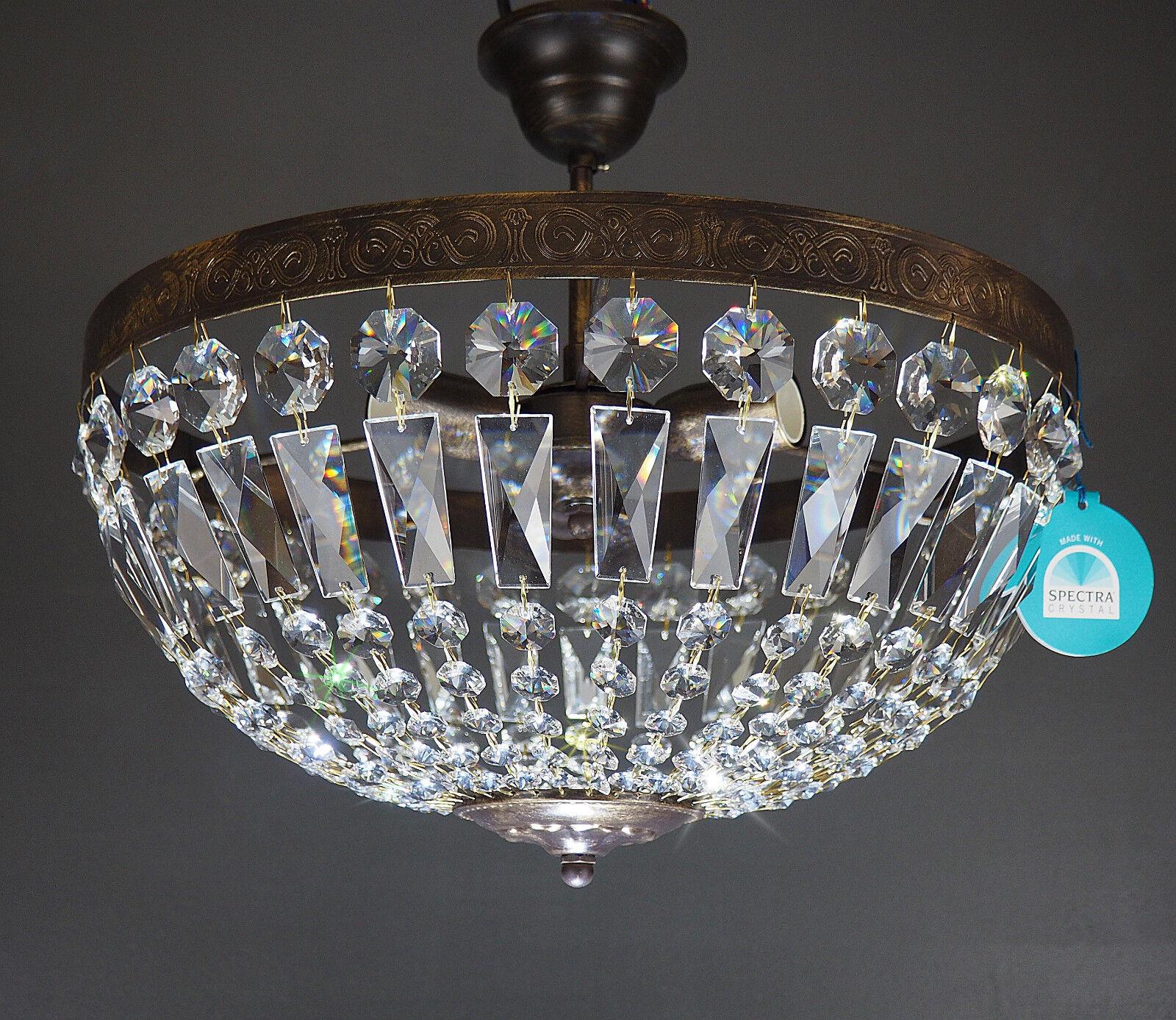 Lampada da soffitto Vienna antico 3 luci luci luci ø40cm realizzato con Spectra ® Crystal di 262863