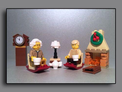 Lego Figuren City Expert Oma und Opa gemütlich am Kaminfeuer Grosseltern