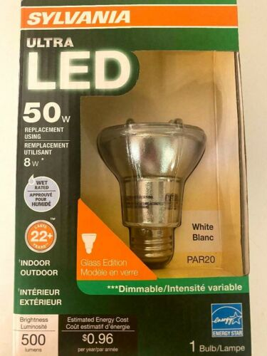 85W Indoor//Outdoor Dimmable Flood Lamp SYLVANIA Ultra LED White PAR20 8Watt
