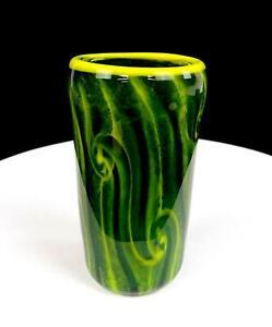 "HB SIGNED STUDIO ART GLASS GREEN AND YELLOW SWIRL 5 1/2"" VASE 2010"