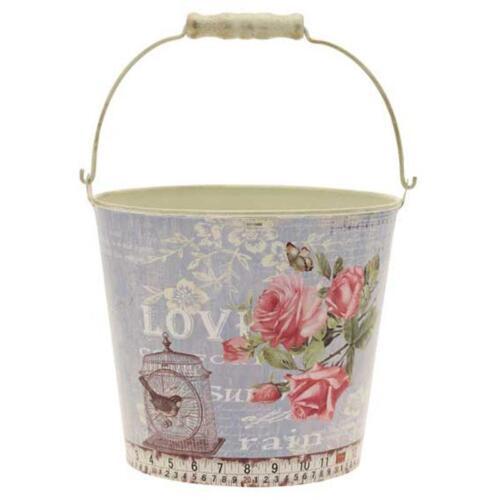 Metal bucket with Vintage Design Large OASIS FLORAL HOME DECORATION SKU ME 5505