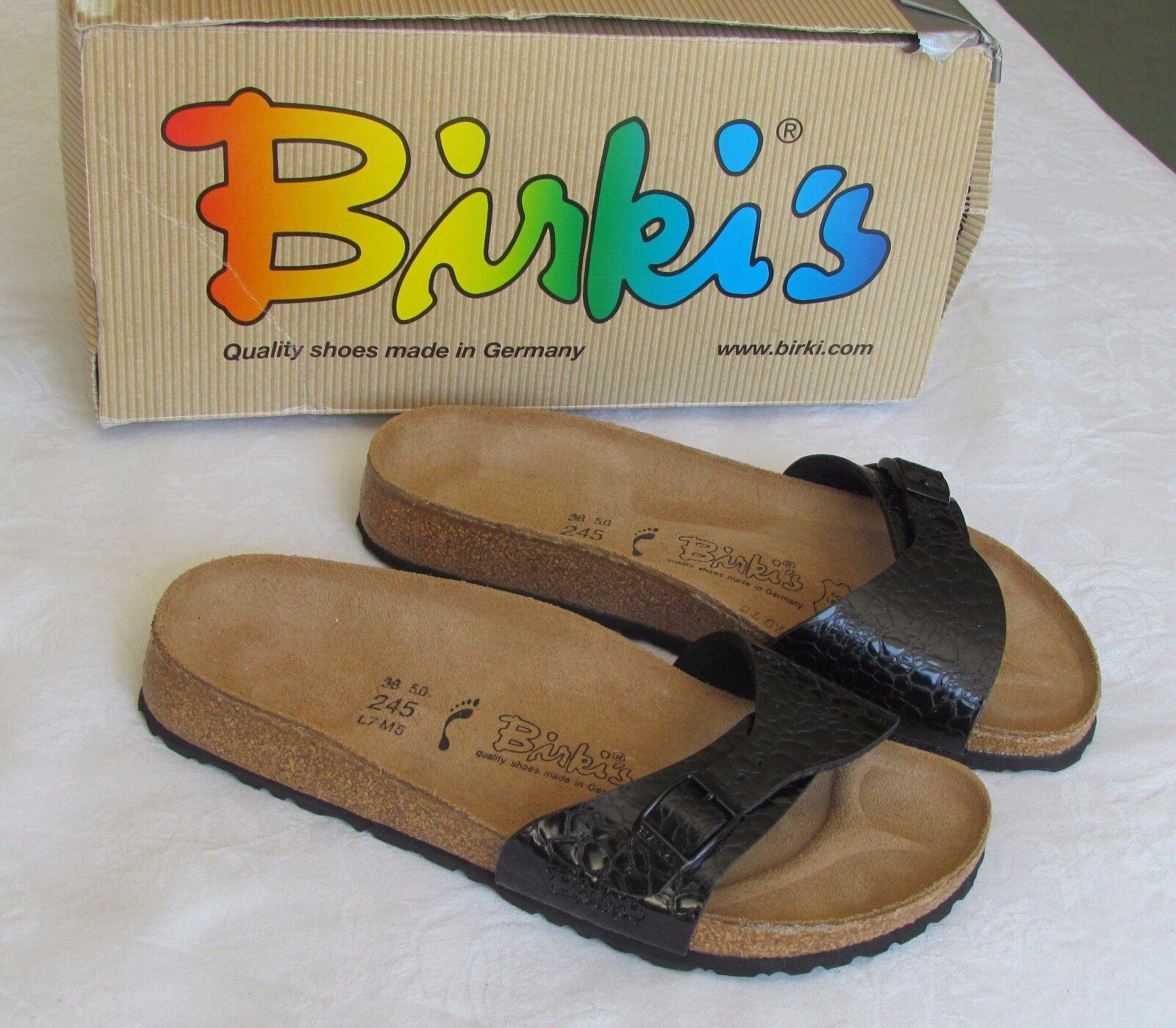 Último gran descuento NEW Birkis By Birkenstock Ladies Black Patent Croc Print Mules Sandals Size 5 38