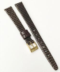 Hirsch-Genuine-Lizard-Leather-Dark-Brown-Tone-10mm-Gold-Buckle-Watch-Band