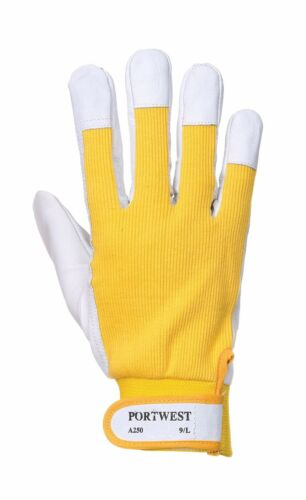 Portwest a250 lavoro in pelle tergsus PIG Guanto Sicurezza Luce Industries Workwear