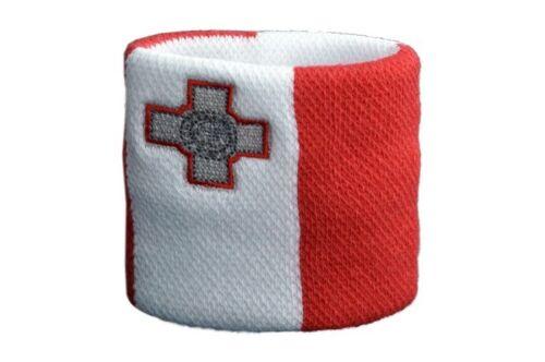 7x8cm Armband für Sport Schweißband Fahne Flagge Malta 2er Set