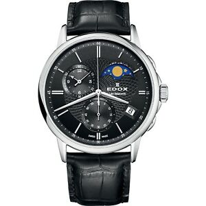 NEW-Edox-Les-Bemonts-Men-039-s-Moon-Phase-Calendar-Watch-01651-3-NIN