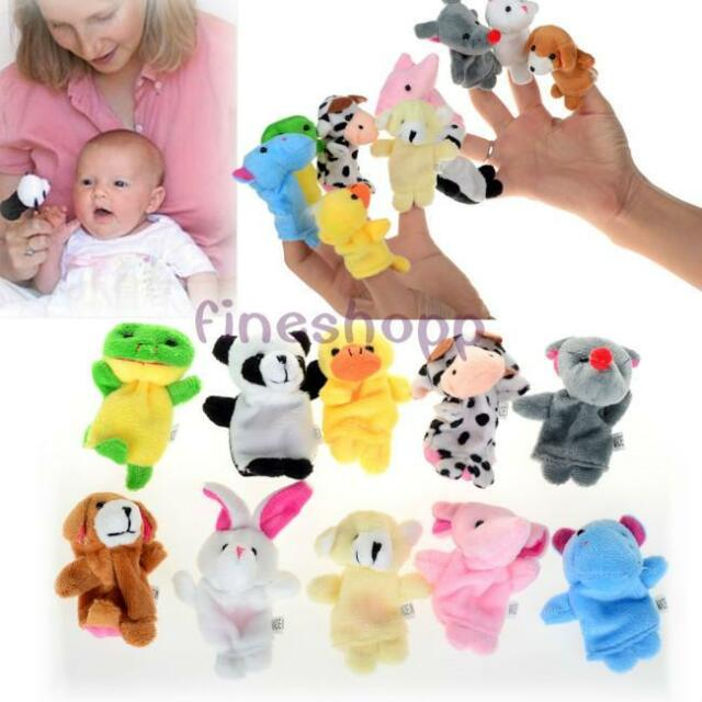 10pcs Zoo Farm Animal Plush Hand Puppets Finger Soft Toy For Baby Children RE