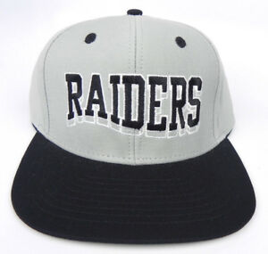 OAKLAND-RAIDERS-NFL-VINTAGE-SNAPBACK-RETRO-BLOCK-LETTERS-GRAY-BLACK-CAP-HAT-NEW