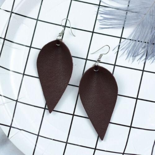 New Women Lady Boho Ear Hook Teardrop Dangle Leather Earrings Fashion Jewelry