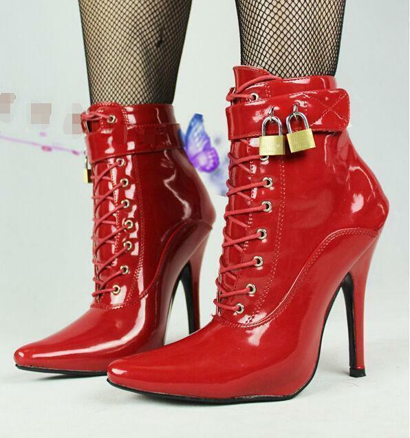 Womens PU Patent Leather lock buckle high heels pointed toe nightclub boot shoes