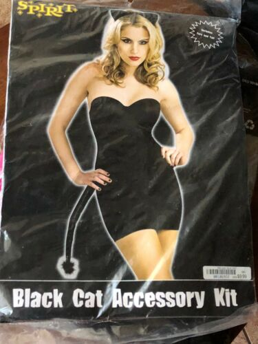 Details about  /Spirit Halloween BLACK CAT Kitty Accessory Kit Ears Tail Cosplay Women Adult NEW