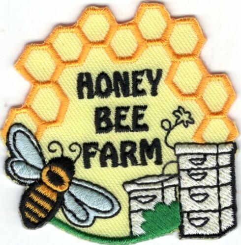 HONEY BEE FARM Iron On Patch Bees Honey Farm