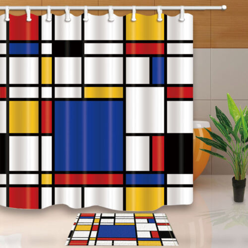 Abstract Geometric Continuous Replicate Mondrian Bathroom Shower Curtain 71Inch