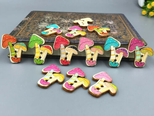 Retro Wooden decoration buttons Mushroom shape Sewing craft Scrapbooking 31mm