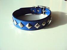 Art-Lederhalsband Hundehalsband blau 50cm mit Rauten von Reinex