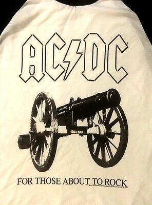 AC/DC cd lgo FOR THOSE ABOUT TO ROCK Official 3/4 SLEEVE RAGLAN SHIRT LRG new