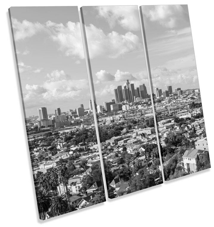 Los Angeles Angeles Angeles City Skyline TREBLE CANVAS WALL ART Square Print Picture 6c6483