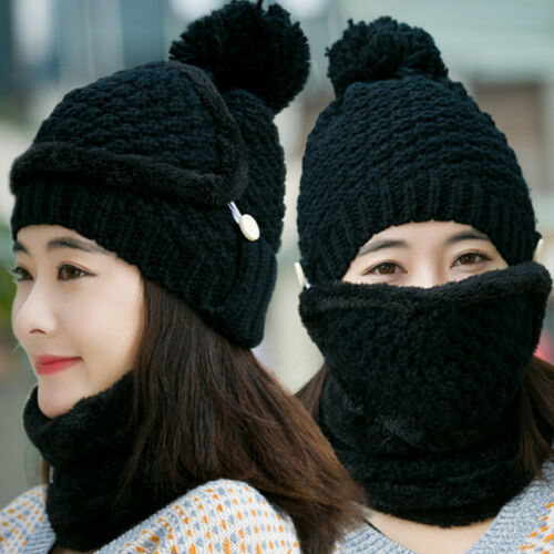 3pcs Women Winter Warm Beanie Hat Scarf Mask Set Knitted Snow Ski Cap Fashion FT