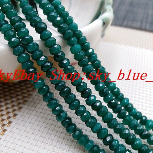 """Natural 4x6mm Faceted Rondelle Dark Green Emerald Gemstone Loose Beads 15/"""""""