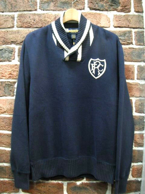 POLO RUGBY RALPH LAUREN INDIGO STRIPED SHAWL FLEECE EMBROIDEROT SWEATER 150