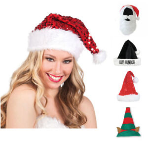 Image is loading Adult-Size-Christmas-Hats-Funny-Novelty-Father-Xmas- 9236fe367884