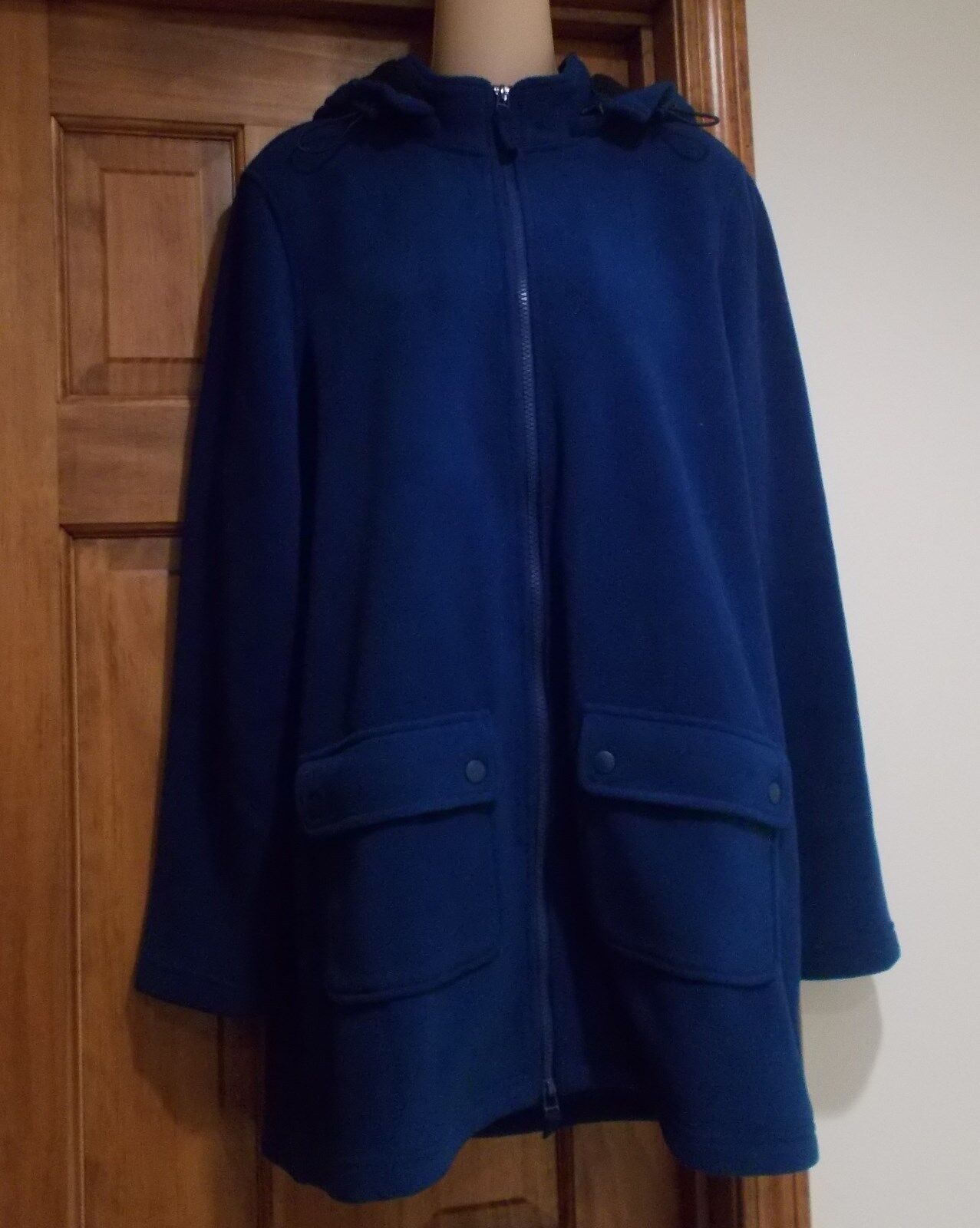 New Coldwater Creek Zip Up A-Line Coat Hood Fleece Coat Size M Women's