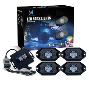 MICTUNING RGB LED Rock Lights Bluetooth Controller Timing  Music 4 Pods Lamp