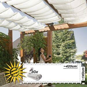 Das Bild Wird Geladen Seilspannmarkise Uni Weiss Ca 420x140 Cm Sonnensegel Wintergarten