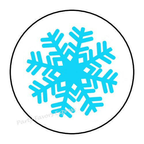 """30 SNOWFLAKE CHRISTMAS ENVELOPE SEALS LABELS STICKERS PARTY FAVORS 1.5/"""" ROUND"""