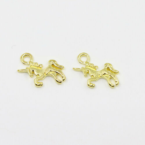 20PCS Golden Unicorn Charms Pendant Necklace Crafts Jewelry 14*12MM