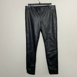 DKNY Sz S Black Faux Leather Front Skinny Pants Legging Stretch Flat Front Women