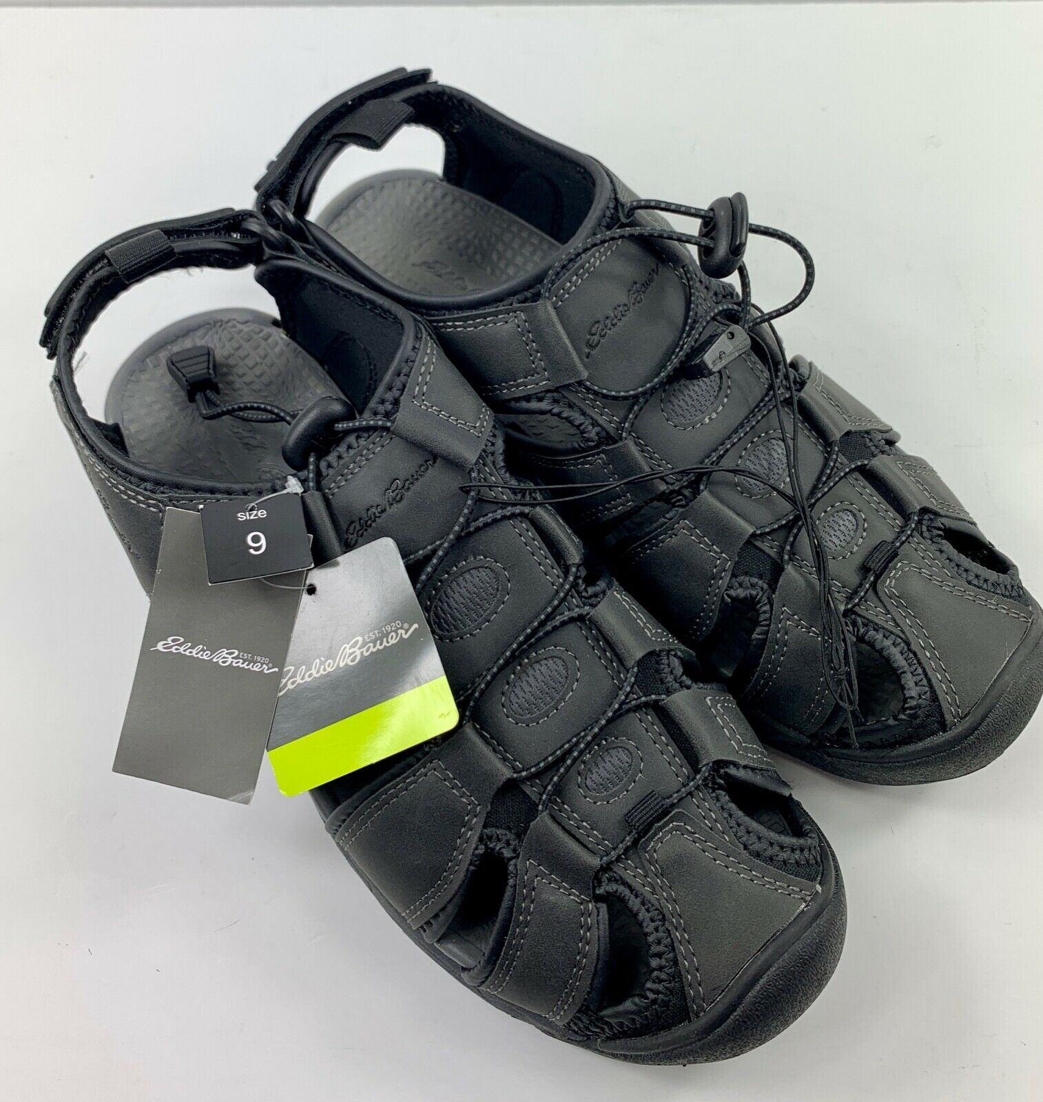 New Eddie Bauer Men's Size 9 Water Hiking Shoes Leather Sandals Black