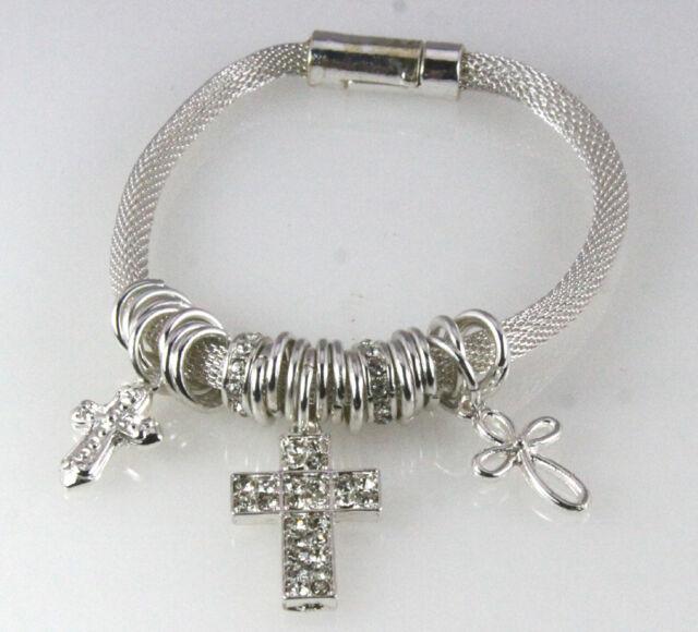 4030844 Cross Charm Bracelet Magnetic Christian Jesus Religious Inspirational