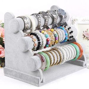 Image Is Loading 3 Tier Velvet Jewelry Bracelet Watch Bangle Display