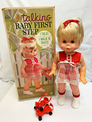 "Vintage Mattel Toys 1964 Baby First Step 18"" Doll W/Skates ..."