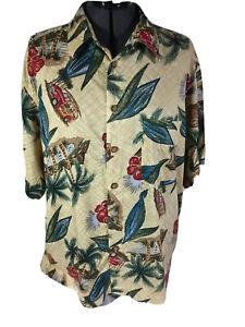 Mens Palm Trees Button Up Hawaiian Shirt Sz XL