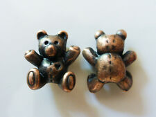 6 x Adorable Little 3D Teddy Bear Charms Beads in Red Copper Colour LF NF