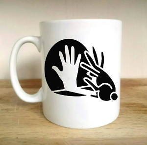 RABBIT HAND SHADOW PUPPET COMEDY FUNNY CUP MUG GIFT NOVELTY PRESENT