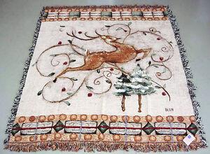 Leaping Deer Christmas Tapestry Afghan Throw ~ Artist, Cheri Blum