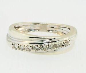 9ct-Crossover-Oro-Blanco-Diamante-0-15ct-banda-de-la-eternidad-tamano-I-de-2-5mm-de-ancho