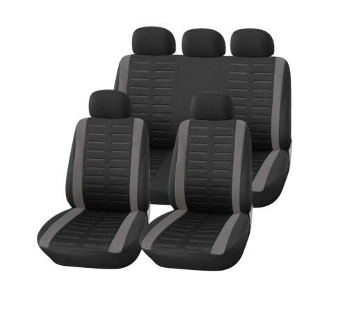 gris Auto fundas para asientos set para delante atrás KFZ ya-referencia cubierta de asiento negro