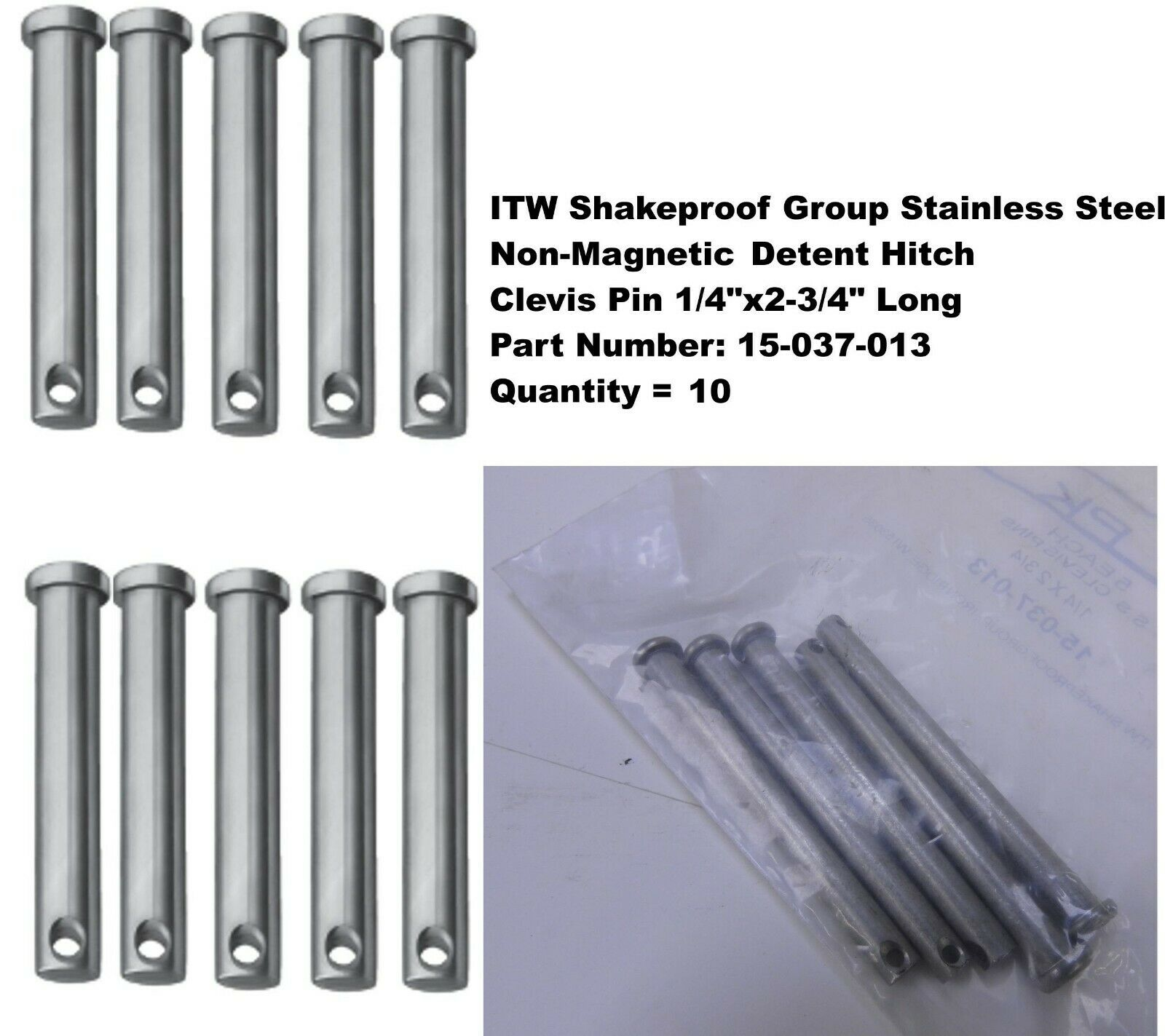 Quantity 10, ITW Stainless Steel Non-Magnetic Detent Clevis Pin