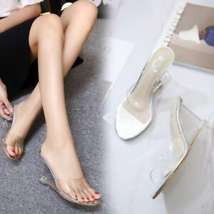 Womens-High-Wedge-Platform-Open-Toe-Transparent-Jelly-Slippers-Mules-Sandals-D22