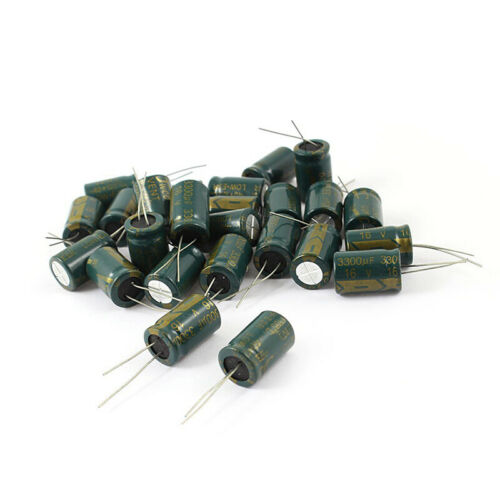 2X 25pcs Condensateurs electrolytiques radiaux 10x25mm 3300uF 16V Bas ESR U6Q GH